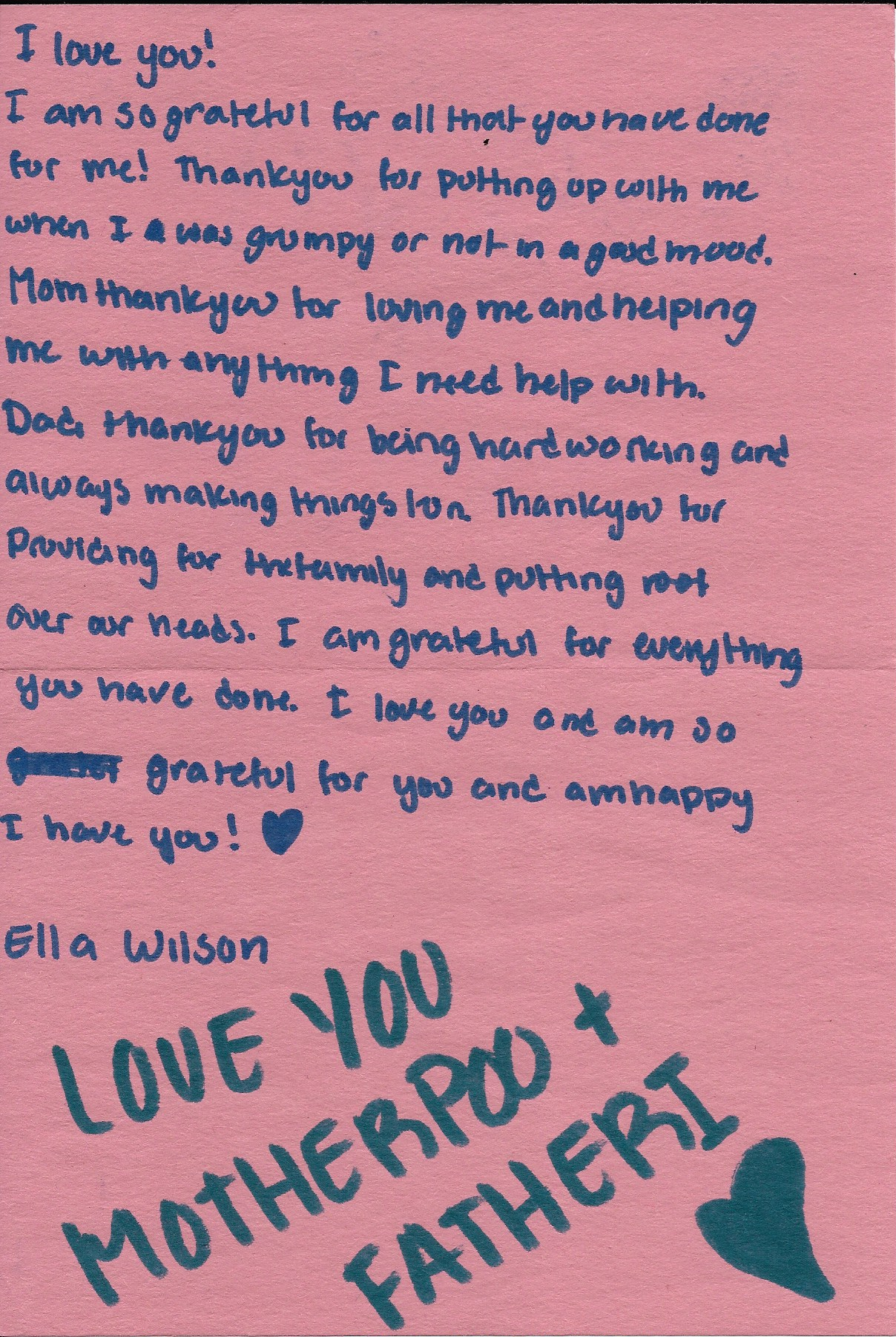 Sweet Note From Ella